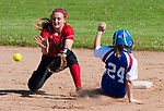 LITCHFIELD,  CT-051717JS13- Nonnewaug's Grace Lynch (24) safely steals second in front of the tag by Wamogo's Savannah Wheeler (20) during their Berkshire League match-up Wednesday at Wamogo High School in Litchfield. <br /> Jim Shannon Republican-American