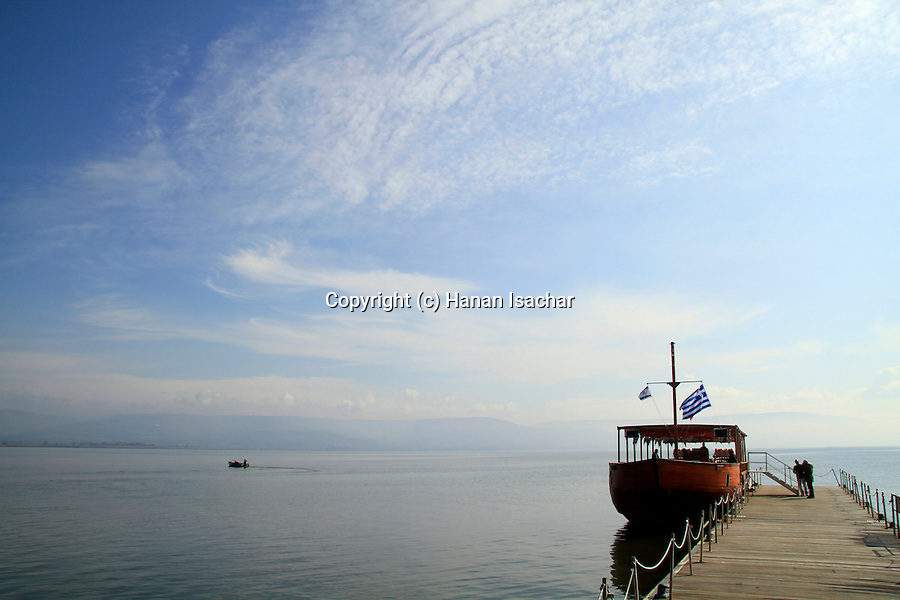 Israel, Sea of Galilee, a boat at the wharf of Capernaum