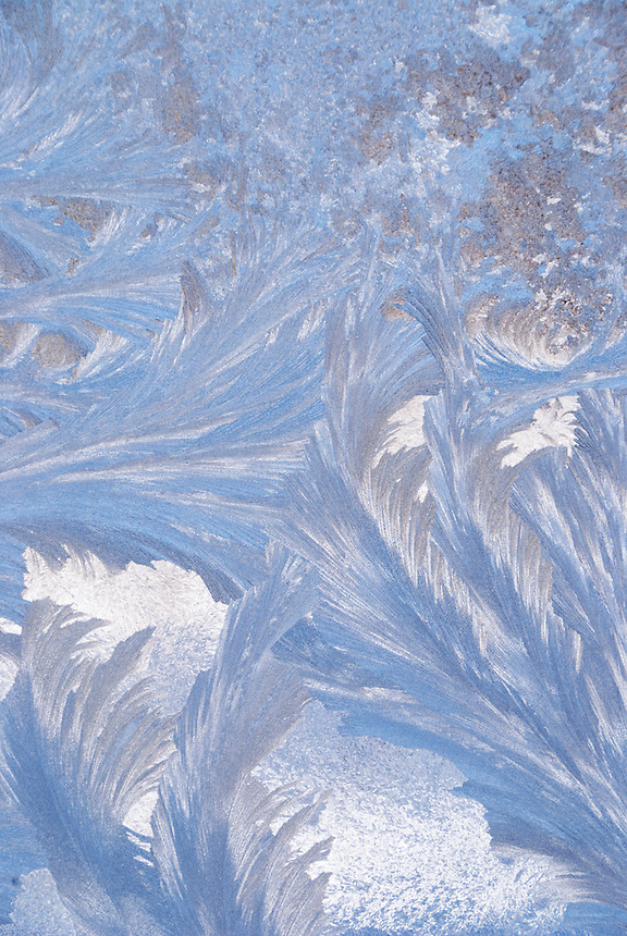 Frost inscribes beautiful blue patterns on a window on a cold day.