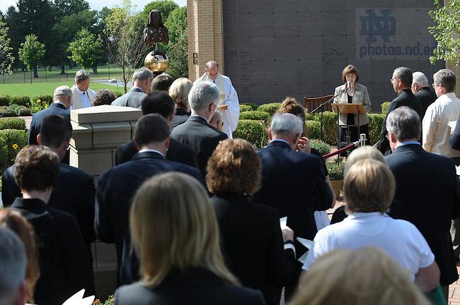 Dedication ceremony of Our Lady of Sorrows statue in Cedar Grove Cemetery. Alumni Board President Ceyl Prinster speaks...Photo by Matt Cashore/University of Notre Dame