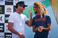 MANLY, NSW/Australia (Saturday, 18 February, 2012) Joel Parkinson (AUS) and Rob Machado (USA).– The Australian Open of Surfing at Manly Beach presented by Hurley and Billabong continued today with the Men's ASP 6-Star division, and the Junior Men and Women's finals.  Matt Banting (AUS) and Nikki Van Dijk (AUS) were victorious in each division.Most of the top seeds were eliminated in the small conditions. The day saw some monster aerials and carving turns in 2-3 foot north easterly (1 meter) surf.  Photo: joliphotos.com
