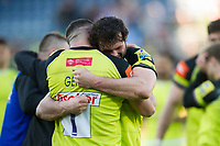 Ellis Genge of Leicester Tigers celebrates with team-mate Dom Barrow after the match. Aviva Premiership match, between Northampton Saints and Leicester Tigers on March 25, 2017 at Franklin's Gardens in Northampton, England. Photo by: Patrick Khachfe / JMP