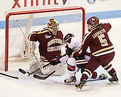 Corinne Boyles (BC - 29), Tori Hickel (NU - 55), Alex Carpenter (BC - 5) - The Northeastern University Huskies defeated Boston College Eagles 4-3 to repeat as Beanpot champions on Tuesday, February 12, 2013, at Matthews Arena in Boston, Massachusetts.