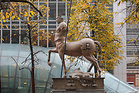 Centauro, by Igor Mitoraj, bronze, 1994, in Canary Wharf, West India Docks on the Isle of Dogs, Borough of Tower Hamlets, East London, UK. Picture by Manuel Cohen