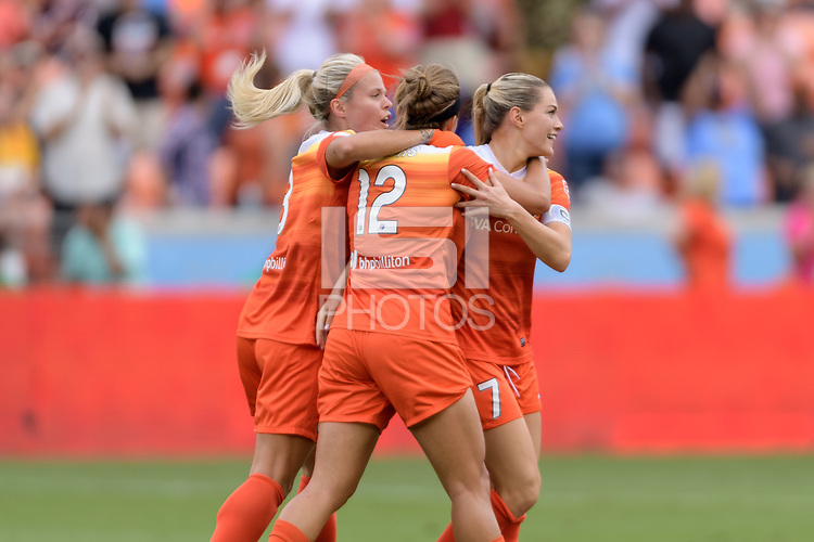 Houston, TX - Saturday April 15, 2017: Kealia Ohai celebrates her goal with Rachel Daly and Amber Brooks during a regular season National Women's Soccer League (NWSL) match between the Houston Dash and the Chicago Red Stars at BBVA Compass Stadium.