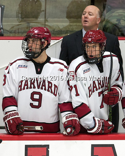Luke Esposito (Harvard - 9), Ted Donato (Harvard - Head Coach), Frédéric Grégoire (Harvard - 71) - The Harvard University Crimson defeated the US National Team Development Program's Under-18 team 5-2 on Saturday, October 8, 2016, at the Bright-Landry Hockey Center in Boston, Massachusetts.