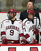 Luke Esposito (Harvard - 9), Ted Donato (Harvard - Head Coach), Frédéric Grégoire (Harvard - 71) - The Harvard University Crimson defeated the US National Team Development Program's Under-18 team 5-2 on Saturday, October 8, 2016, at the Bright-Landry Hockey Center in Boston, Massachusetts.