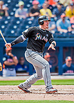 1 March 2017: Miami Marlins infielder Justin Bour in Spring Training action against the Houston Astros at the Ballpark of the Palm Beaches in West Palm Beach, Florida. The Marlins defeated the Astros 9-5 in Grapefruit League play. Mandatory Credit: Ed Wolfstein Photo *** RAW (NEF) Image File Available ***