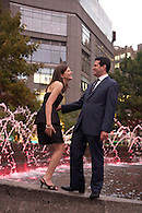 Engagement Portrait Session at Dusk, Columbus Circle