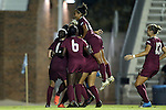 27 September 2012: Florida State's Ines Jaurena (FRA) (2) jumps on a pile of teammates as the celebrate a goal by Dagny Brynjarsdottir (ISL). The University of North Carolina Tar Heels played the Florida State University Seminoles at Fetzer Field in Chapel Hill, North Carolina in a 2012 NCAA Division I Women's Soccer game. Florida State won the game 1-0.