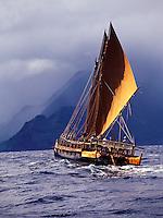 Polynesian voyaging canoe Hawai'iloa, north shore of Moloka'i.