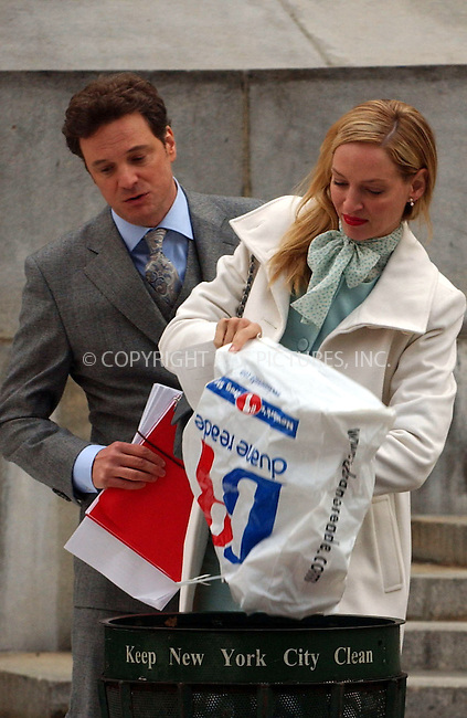 WWW.ACEPIXS.COM . . . . . ....December 15, 2006, New York City.....Uma Thurman and Colin Firth on the Movie Set of 'The Accidental Husband'. ....Please byline: KRISTIN CALLAHAN - ACEPIXS.COM.. . . . . . ..Ace Pictures, Inc:  ..(212) 243-8787 or (646) 769 0430..e-mail: info@acepixs.com..web: http://www.acepixs.com