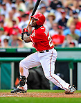 24 May 2009: Washington Nationals' outfielder Willie Harris in action against the Baltimore Orioles at Nationals Park in Washington, DC. The Nationals rallied to defeat the Orioles 8-5 and salvage one win of their interleague series. Mandatory Credit: Ed Wolfstein Photo