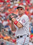 27 May 2013: Washington Nationals third baseman Ryan Zimmerman warms up prior to facing the Baltimore Orioles at Nationals Park in Washington, DC. The Orioles defeated the Nationals 6-2, taking the Memorial Day, first game of their interleague series. Mandatory Credit: Ed Wolfstein Photo *** RAW (NEF) Image File Available ***