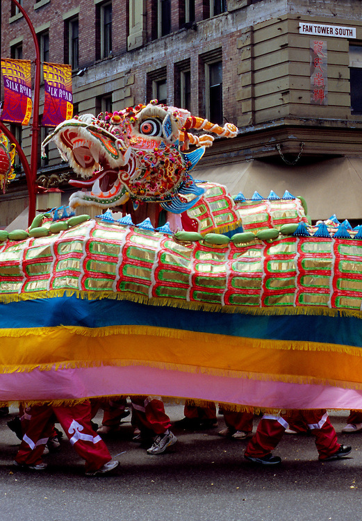 Dragon dancers at annual Shon Yee Benevolent Association Parade in Chinatown, Vancouver, BC.