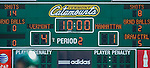 30 March 2016: The halftime score is seen on the University of Vermont Catamount scoreboard during a Women's Lacrosse game against the Manhattan College Jaspers at Virtue Field in Burlington, Vermont. The Lady Cats went on to defeat the Jaspers 11-5 in non-conference play. Mandatory Credit: Ed Wolfstein Photo *** RAW (NEF) Image File Available ***