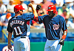 10 March 2009: Washington Nationals outfielder Elijah Dukes (right) celebrates a home run with third baseman Ryan Zimmerman during a Spring Training game against the New York Mets at Space Coast Stadium in Viera, Florida. The Nationals and Mets tied 5-5 in the 10-inning Grapefruit League matchup. Mandatory Photo Credit: Ed Wolfstein Photo