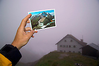 Adlerweg, Tirol, Austria, August 2005. Low haging clouds cover the memminger hutte. The Adlerweg (eagles trail) is the new long distance hiking trail in Austria. The Adlerweg connects existing paths throughout Tirol, in the shape of an eagle, Tirol's provincial symbol. Photo by Frits Meyst/Adventure4ever.com