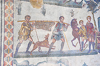 Hunter after a wild boar hunt from the Room of The Small Hunt, no 25 - Roman mosaics at the Villa Romana del Casale which containis the richest, largest and most complex collection of Roman mosaics in the world, circa the first quarter of the 4th century AD. Sicily, Italy. A UNESCO World Heritage Site.