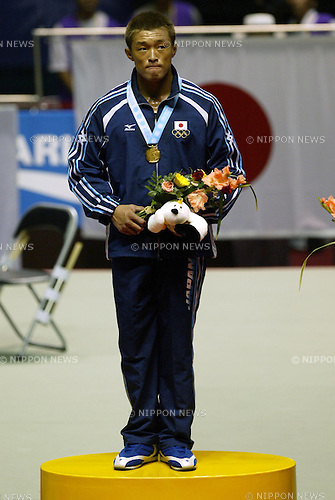 Yoshihiro Akiyama (JPN), OCTOBER 1, 2002 - Judo : Yoshihiro Akiyama of Japan celebrates after winning the 2002 Busan Asian Games, Men's 81kg class in Busan, South Korea. (Photo by Atsushi Tomura/AFLO SPORT)
