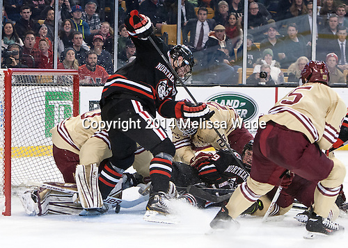 Thatcher Demko (BC - 30), Adam Reid (NU - 8), Patrick Brown (BC - 23), Mike Szmatula (NU - 19) - The Boston College Eagles defeated the Northeastern University Huskies 4-1 (EN) on Monday, February 10, 2014, in the 2014 Beanpot Championship game at TD Garden in Boston, Massachusetts.