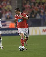 SL Benfica midfielder Filipe Menezes (24) dribbles. SL Benfica  defeated New England Revolution, 4-0, at Gillette Stadium on May 19, 2010.