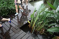 Tourists walk on boardwalks in the Xixi wetlands which lie in the west of the city of Hangzhou. This is China's 'first national wetland park,' dubbed as such to act as a role model to all other wetlands in China and to supposedly show how to effectively manage and restore wetlands, notably urban wetlands. Zhejiang Province. China. 2010