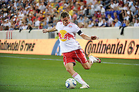 Chris Albright (3) of the New York Red Bulls. The New York Red Bulls and the Vancouver Whitecaps played to a 1-1 tie during a Major League Soccer (MLS) match at Red Bull Arena in Harrison, NJ, on September 10, 2011.