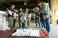 Young people on a study trip to the agricultural cooperative, Kamikatsu, Katsuura, Tokushima Prefecture, Japan, July 7, 2014. The Irodori Project is based in the mountain town of Kamikatsu, Tokushima Prefecture. Farmers - many of them elderly - grow leaves and flowers to use to decorate Japanese food in restaurants and hotels across the nation.