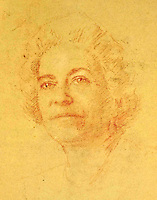 BNPS.co.uk (01202 558833)<br /> Pic: SAS/BNPS<br /> <br /> Preparatory sketch of Queen Elizabeth from 1977.<br /> <br /> An amazing 30 year old time capsule of Royal artworks have been found gathering dust in a dilapidated estate near Tonbridge in Kent.<br /> <br /> They form part of a remarkable collection of 400 works by the almost forgotten painter Bernard Hailstone, that have been locked away in his abandoned studio at Hadlow Tower since his death in 1987.<br /> <br /> Amongst the famous figures who sat for Mr Hailstone, who died in 1987, were the Queen, the Queen Mother, Prince Charles, Winston Churchill, former US president Jimmy Carter and actor Laurence Olivier.<br /> <br /> While sitting for her portrait at Buckingham Palace, The Queen asked him to adjust the aerial so she could watch the horse racing on the TV.<br /> <br /> The then US president Jimmy Carter was sketched by Mr Hailstone during a flight from London to New York, while Mr Hailstone and Winston Churchill discussed aliens during their sitting at Chartwell.