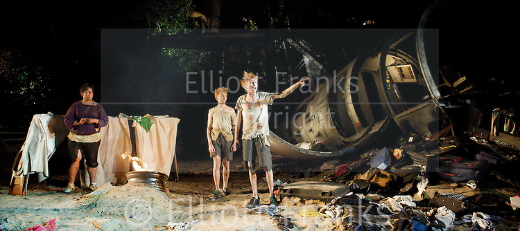 Lord of the Flies<br /> by William Golding <br /> adapted for stage by Nigel Williams<br /> at Regent's Park, Open Air Theatre, London, Great Britain <br /> press photocall<br /> 20th May 2011<br /> <br /> <br /> George Bukhari (as Piggy)<br /> James McConville (as Sam)<br /> Stuart Matthews (as Eric)<br /> <br /> <br /> <br /> Photograph by Elliott Franks