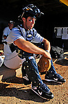 12 July 2007: Vermont Lake Monsters catcher Sean Rooney awaits the start of play prior to a game against the Mahoning Valley Scrappers at Historic Centennial Field in Burlington, Vermont. The Scrappers defeated the Lake Monsters 11-2 in the first game of their NY Penn-League double-header...Mandatory Photo Credit: Ed Wolfstein Photo