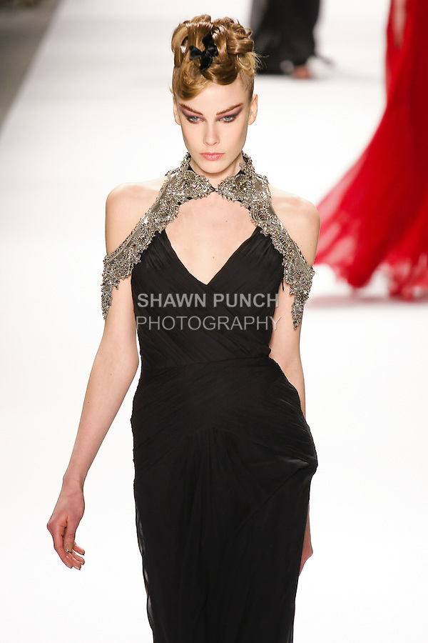 Julia Nobis walks runway in a Monique Lhuillier Fall 2011 outfit, during Mercedes-Benz Fashion Week Fall 2011.