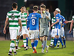 St Johnstone v Celtic&hellip;.McDiarmid Park, Perth.. 11.05.16<br />Zander Clark and Steven MacLean celebrate at full time<br />Picture by Graeme Hart.<br />Copyright Perthshire Picture Agency<br />Tel: 01738 623350  Mobile: 07990 594431