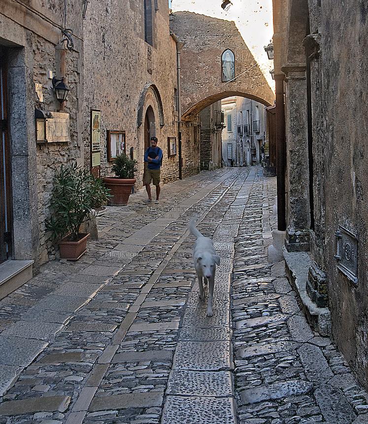 Borgo di Erice, vicolo.<br /> Alley in the ancient village of Erice