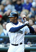 04 October 2009: Seattle Mariners designated hitter Ken Griffey Jr warms up on the on deck circle before his first at bat of the game against Texas Rangers.  Seattle won 4-3 over the Texas Rangers at Safeco Field in Seattle, Washington.