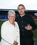 St Johnstone Player of the Year Awards...04.05.13.StJFC Supporters Bus Player of the Year went to Dave Mackay presented by Betty Young. .Picture by Graeme Hart..Copyright Perthshire Picture Agency.Tel: 01738 623350  Mobile: 07990 594431