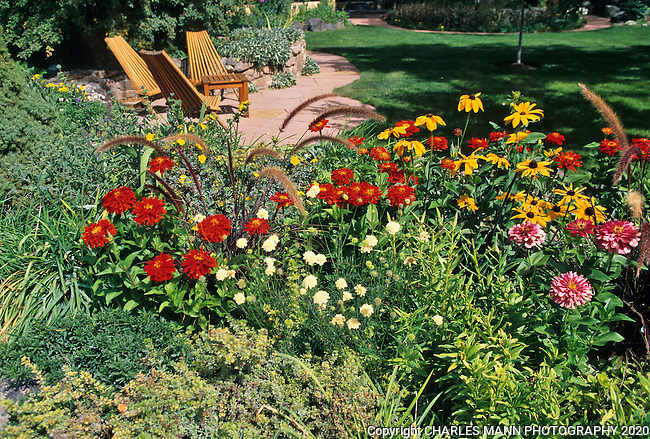 Susan Blevins of Taos, New Mexico, created an elaborate home garden featuring containers, perennial beds, a Japanese themed path and a regional style that reflectes the Spanish and pueblo architecture of the area.Colorful perennials, annuals like zinnias and  grasses lioke Pennisetum line the beds of the fron lawn area in late summer.