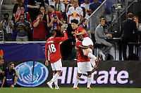 Ji-Sung Park (13) of Manchester United celebrates scoring. Manchester United defeated the MLS All-Stars 4-0 during the MLS ALL-Star game at Red Bull Arena in Harrison, NJ, on July 27, 2011.