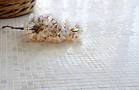 Ready to ship 1cm grid pattern shown in polished Calacatta Radiance