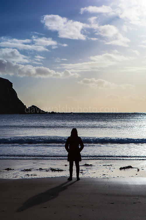 Standing on the beach Silver Strand, Or Trabane Beach, near Malin Beg, Donegal, on Ireland's Wild Atlantic Way.