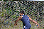 Oxford Middle School's Collin Lei  throws the discus at a track meet in Oxford, Miss. on Thursday, April 7, 2011.