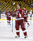 Ryan Grimshaw (Harvard - 6) - The Northeastern University Huskies defeated the Harvard University Crimson 4-1 (EN) on Monday, February 8, 2010, at the TD Garden in Boston, Massachusetts, in the 2010 Beanpot consolation game.