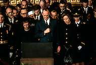 Washington National Cathedral - March 31, 1969. Former Frist Lady Mamie Geneva Eisenhower, with son John Eisenhower and wife Barbara Thompson at the funeral procession of former President Dwight Eisenhower. He (October 14, 1890 - March 28, 1969) was the 34th President of the United States from 1953 until 1961, was a five-star general in the United States Army during World War II and was the first supreme commander of NATO.