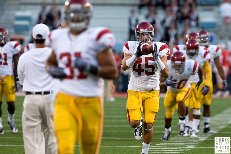12 September 2009:  Football -- USC FB Adam Goodman warms up before their game at Ohio Stadium in Columbus.  USC won 18-15.  Photo by Christopher McGuire.