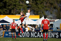 Akron's Scott Caldwell (15) goes high for a ball. 2010 NCAA D1 College Cup Championship Final Akron defeated Louisville 1-0 at Harder Stadium on the campus of UCSB in Santa Barbara, California on Sunday December 12, 2010.