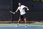 13 May 2016: Wake Forest's Petros Chrysochos (CYP). The Wake Forest University Demon Deacons hosted the Coastal Carolina University Chanticleers at the Wake Forest Tennis Center in Winston-Salem, North Carolina in a 2015-16 NCAA Division I Men's Tennis Tournament First Round match. Wake Forest won the match 4-0.