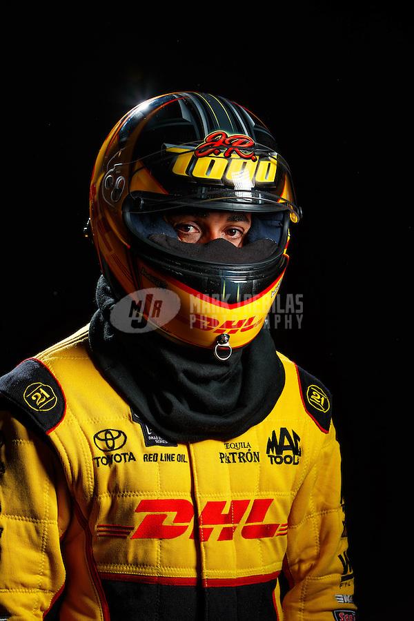 Feb 8, 2017; Pomona, CA, USA; NHRA funny car driver J.R. Todd poses for a portrait during media day at Auto Club Raceway at Pomona. Mandatory Credit: Mark J. Rebilas-USA TODAY Sports