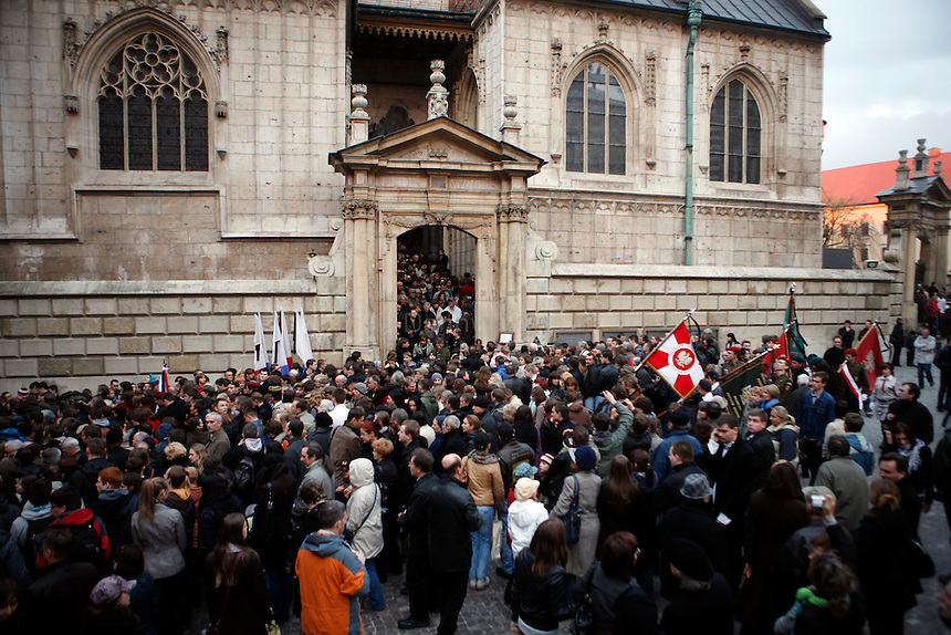 Thousands of Krakovians attended a mass at Wawel Castle to honor Polish President Lech Kaczynski. He and many of the country's top leaders were killed in a plane crash Saturday morning on route to the site of a Soviet massacre of Polish officers during World War II. . April 10, 2010