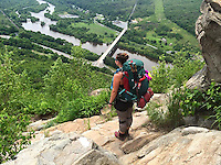 Courtesy photo/KRISTEN LEWIS<br /> Lewis takes in a panorama high above a river.